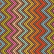 Moda Wrens and Friends - 2991 - Chevron Multi-Coloured on Brown - 10005-21 Cotton Fabric